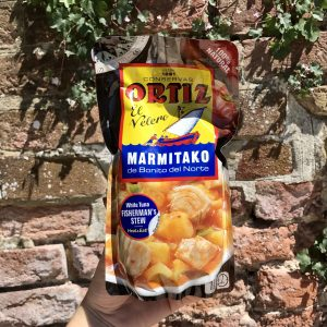 Shows pouch of marmitako approximately as big as a book.